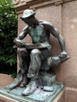 Worker reading book, Carnegie library, Allegheny, PA