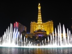 Bellagio fountains and Paris, Las Vegas, NV