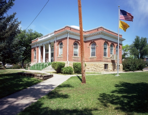 Flags and Carnegie Library, Las Vegas, NM