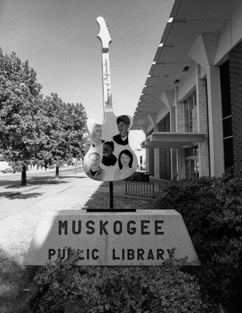 Guitar and library, Muskogee, OK
