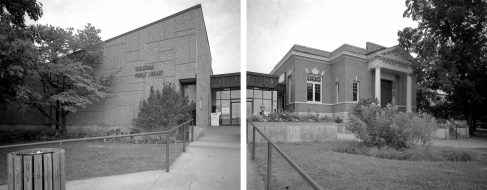 New and old libraries in Cherokee Capitol, Tahlequah, OK (diptych)