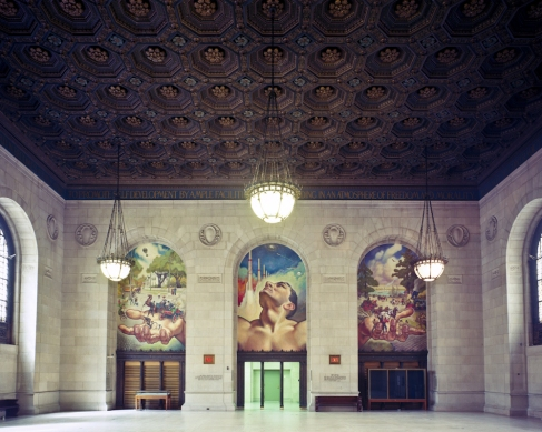 Three murals and ceiling, Main Library, Detroit, MI