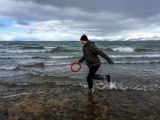 RD rescuing frisbee, Lake Tahoe