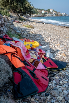 Life vests on beach, Korlovasi, Samos