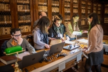 Students cataloging and Director, Girolamini Library, Napoli